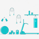 Vector illustration of sport gym interior. Stock Images