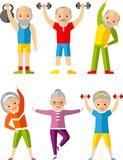 Vector illustration sport healthy and leisure old people activities Royalty Free Stock Images