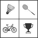 Vector Illustration of Sport Set Icons. Elements of Badminton, Badminton, Bicycle and Award icon. On white background royalty free illustration