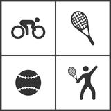 Vector Illustration of Sport Set Icons. Elements of Bicycle, Tennis, Tennis ball and Tennis player icon vector illustration