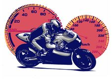 Vector illustration Sport superbike motorcycle with struments stock photos