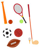 Vector illustration of sports equipments Royalty Free Stock Images