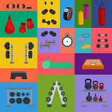 Vector illustration of sports fitness gym or crossfit equipments Royalty Free Stock Images