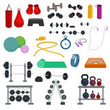 Vector illustration of sports fitness gym or crossfit equipments Stock Photo
