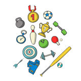 Vector illustration of sports set. Hand-drown objects sketch. Sp Royalty Free Stock Images