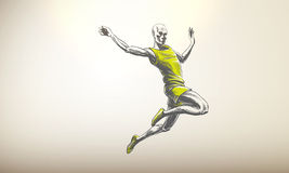 Vector Illustration of Sportsman, Athlete | Long J Royalty Free Stock Photography