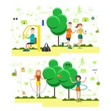 Vector set of training outside people flat symbols, icons. Vector illustration of sporty men and women jogging, exercising on training apparatus, doing hula hoop Stock Photography