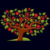 Vector illustration of spring branchy tree with beautiful blosso Stock Image