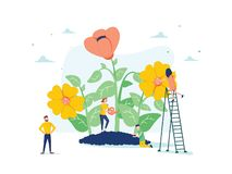 Vector illustration of spring flowers on white background, gardeners look after the garden, growing and studying plants vector illustration