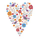 Vector illustration of spring the hearts of the birds and leaves Valentine`s day. Beautiful vector illustration of spring the hearts of the birds and leaves Royalty Free Stock Photos