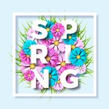 Vector Illustration on a spring nature theme with beautiful colorful flower on blue background. Floral design template. With typography letter Royalty Free Stock Images