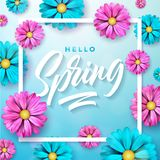 Vector Illustration on a spring nature theme with beautiful colorful flower on blue background. Floral design template. With typography letter Royalty Free Stock Photos
