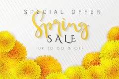 Vector illustration of spring promotion banner template with hand lettering label - spring - with realictic yeallow royalty free illustration