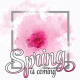 Vector illustration - spring season - cherry blossoms on a background of vintage ribbon with the inscription Spring is coming. Stock Photos