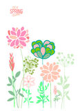 Vector illustration spring themes. Set of colour plants stock illustration