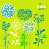 Vector illustration spring themes. Set of green plants stock illustration