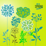 Vector illustration spring themes. Set of green plants royalty free illustration