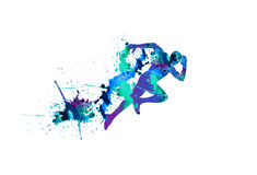 Vector illustration: sprinter. Running man. Stock Photography