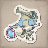 Vector illustration of spyglass, map and compass. On the old paper Stock Image