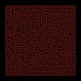 Square labyrinth on a black background with red lines stock illustration