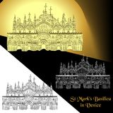 Vector illustration of St. Mark`s Basilica in Venice Italy. Contour detailed sketch of the Patriarchal Cathedral Basilica of Saint Mark Royalty Free Stock Photo
