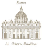 Vector illustration of St Peters Basilica Stock Photo