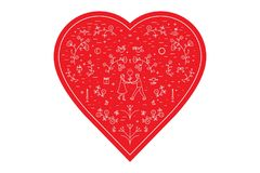 Vector illustration for St. Valentine s day, heart, icons, small details, microscopic signs. Vector illustration for St. Valentine`s day, heart, icons, small Stock Photos