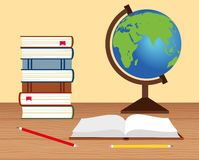 Illustration of a stack of books, a globe, an open book on the table Stock Photography