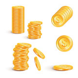 Vector illustration stacks of golden coins isolated on a white  Royalty Free Stock Photography