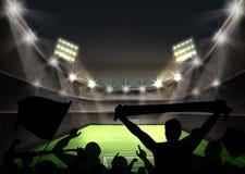 Green football field. Vector illustration of stadium with bright spotlight illuminates green football field and fans silhouettes Stock Photography