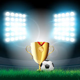 Vector illustration of stadium with lights. Vector illustration of football ball, trophy cup and a medal for the first place on the grass on the stadium with Stock Images