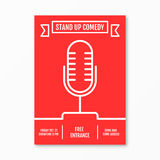 Vector Illustration of stand up Comedy in Night Club event. For performance show poster design, Banner, wallpaper. Microphone silhouette style. Element template Stock Image
