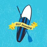 Vector illustration of stand up paddle board and paddle in flat Royalty Free Stock Images