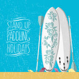 Vector illustration of stand up paddle boards and paddles set in Royalty Free Stock Image