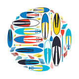 Vector illustration of stand up paddle boards and paddles set in Royalty Free Stock Photo