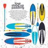 Vector illustration of stand up paddle boards and paddles set in Stock Photos
