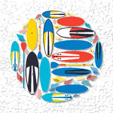 Vector illustration of stand up paddle boards and paddles set  w Royalty Free Stock Photos