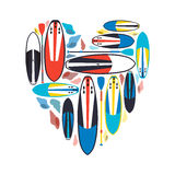Vector illustration of stand up paddle boards and paddles set  w. Ith shells in form of heart as template for your design, article or print Stock Photography