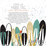 Vector illustration of stand up paddle set Stock Image