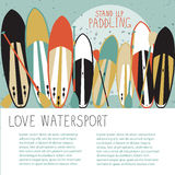 Vector illustration of stand up paddle set in flat design style Stock Photo