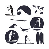 Vector illustration of stand up paddling silhouette icon set in Stock Photo