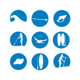 Vector illustration of stand up paddling silhouette icon set in Royalty Free Stock Image
