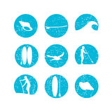 Vector illustration of stand up paddling silhouette icon set in Royalty Free Stock Photos