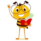Bee Student Holding a Book while Raising his hand. Vector Illustration of Standing Bee Student Holding a Red Book while Raising his hand royalty free illustration