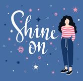 Vector Illustration. Star Background With Isolated Stylish Lettering - `Shine On`. Inspiring  Poster.