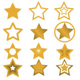 Vector illustration for star design. Many of the gold star on a white background Royalty Free Stock Photos