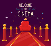 Vector illustration of star red carpet and cinema armchair with Stock Image