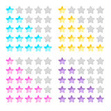 Vector illustration, stars, rating, levels of difficulty, yellow Stock Photos