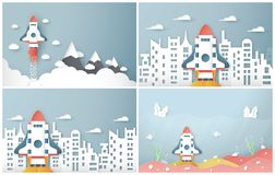 Vector illustration with start up concept in paper cut, craft and origami style. Rocket is flying on blue sky. Template design for. Web banner, poster, cover stock illustration