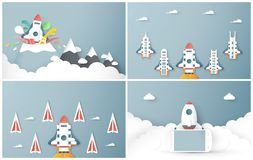 Vector illustration with start up concept in paper cut, craft and origami style. Rocket is flying on blue sky. Template design for. Web banner, poster, cover vector illustration